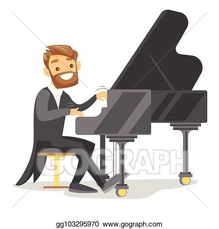 Vector art young caucasian. Piano clipart hobby