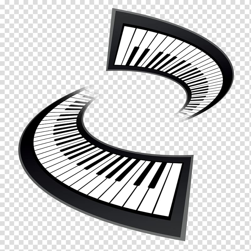 Black and white musical. Piano clipart logo