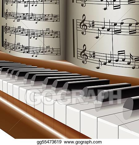 Piano clipart melodies. Vector art music notes