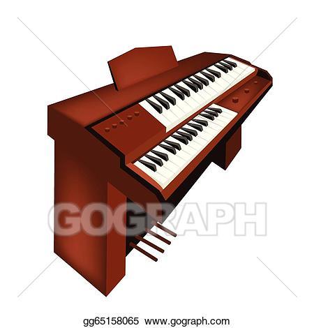 Piano clipart organ. Vector stock a retro