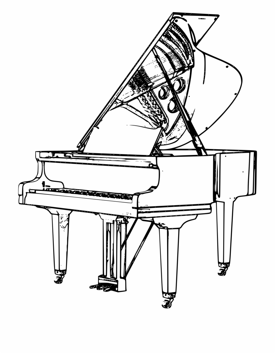 Piano clipart outline. Keyboard drawing at getdrawings