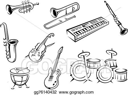 Piano clipart percussion instrument. Vector illustration outline string