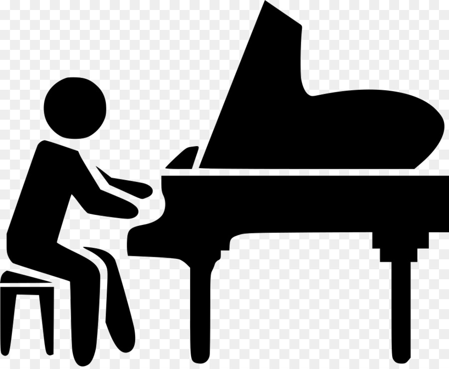 Cartoon keyboard silhouette . Piano clipart pianist