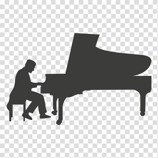 Pianist music silhouette spanner. Piano clipart piano concert