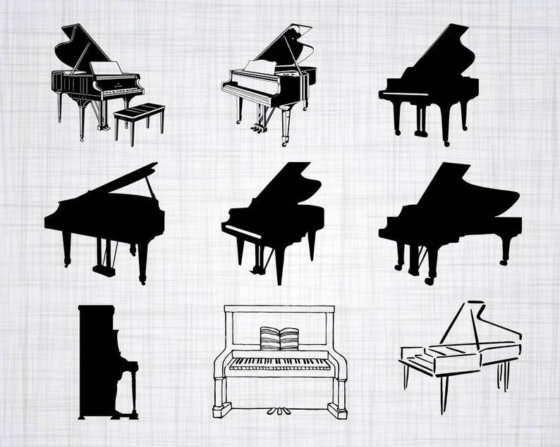 Svg bundle cut files. Piano clipart piano design