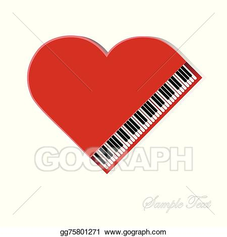 Piano clipart red piano. Eps vector on white