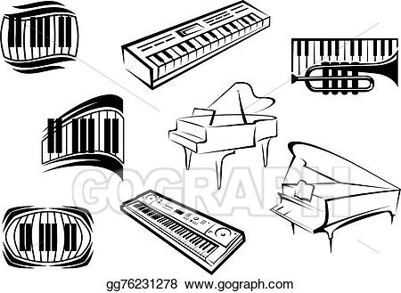 Piano clipart sketches. Vector illustration outline sketch