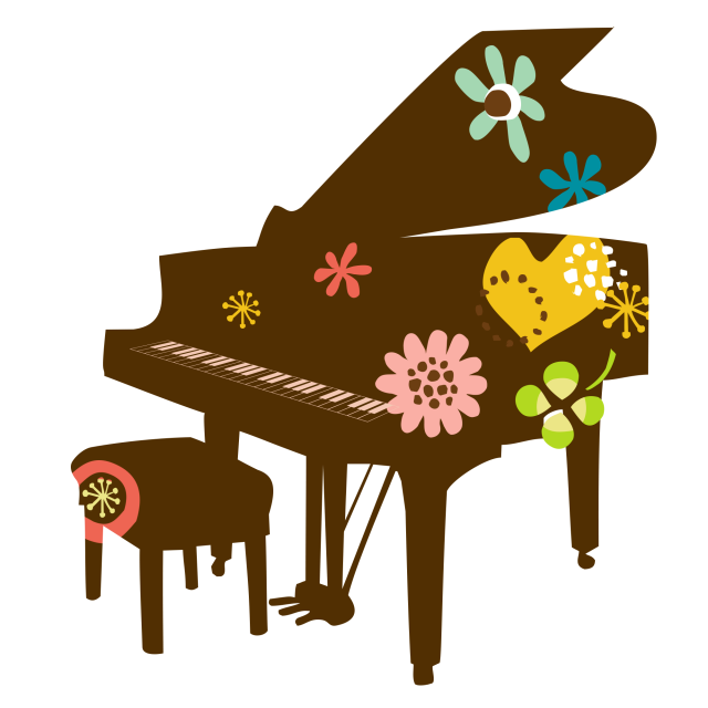 Piano clipart stylized.