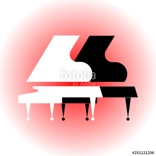 Black and white grand. Piano clipart stylized