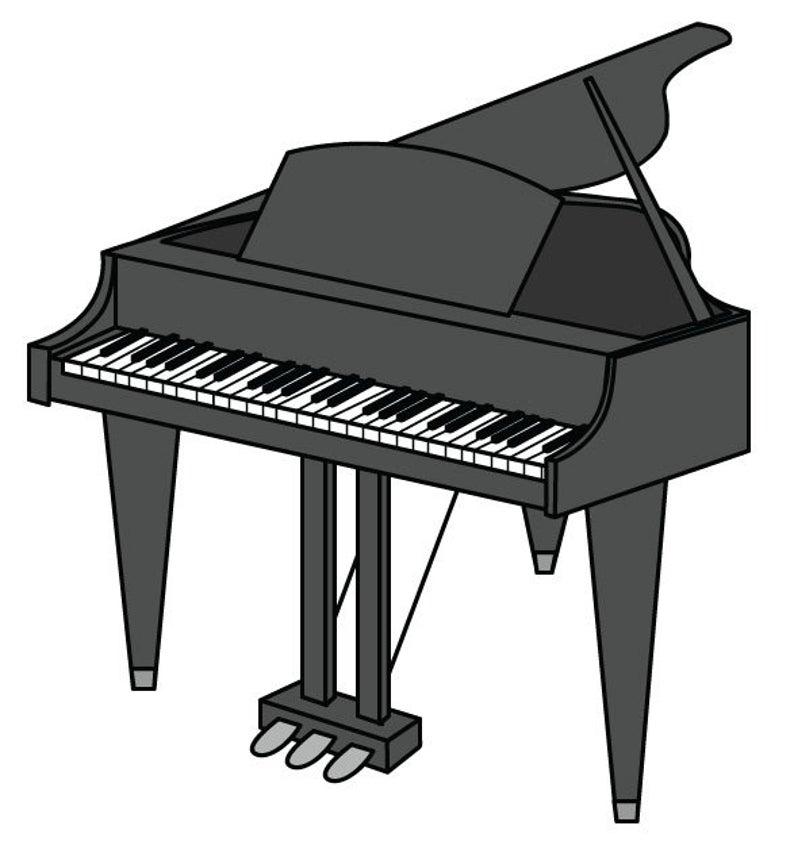 Clip art vector graphic. Piano clipart swirly
