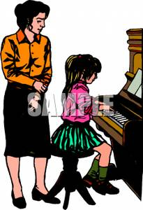 Piano clipart teaching piano. A colorful cartoon of