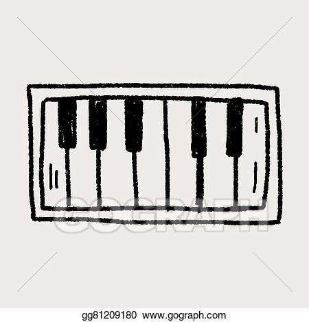 Piano clipart tool. Vector art doodle eps