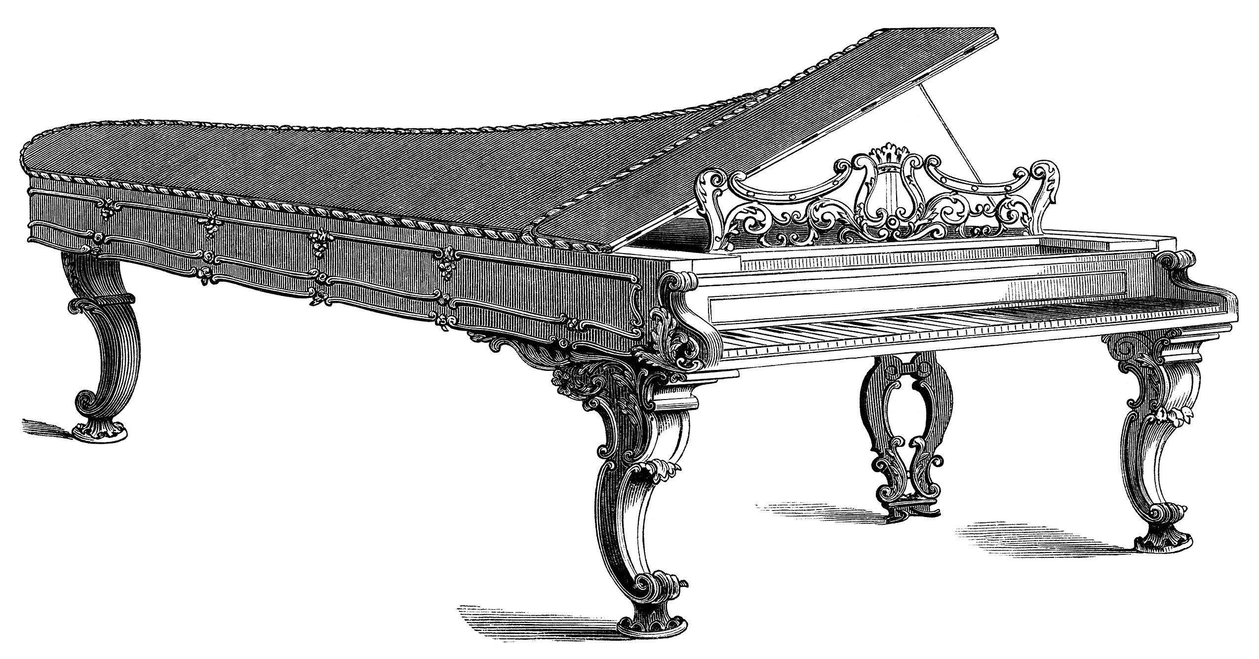 Victorian illustration forte engraving. Piano clipart vintage piano