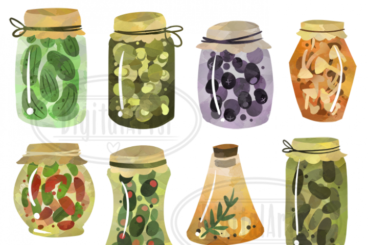 Watercolor by digitalartsi thehungryjpeg. Pickles clipart