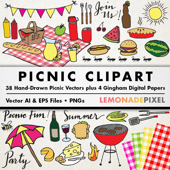 Picnic clipart. Party theme summer grill