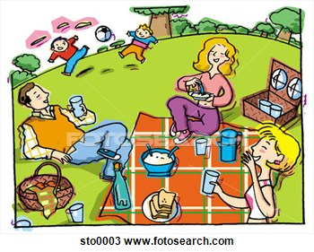 Happy family having a picnic. A vector illustration of a happy family  having a picnic in the park.