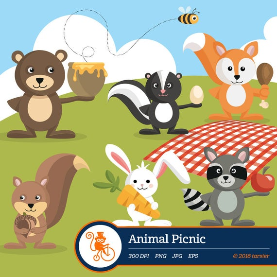 Picnic clipart forest. Animal woodland vector graphics