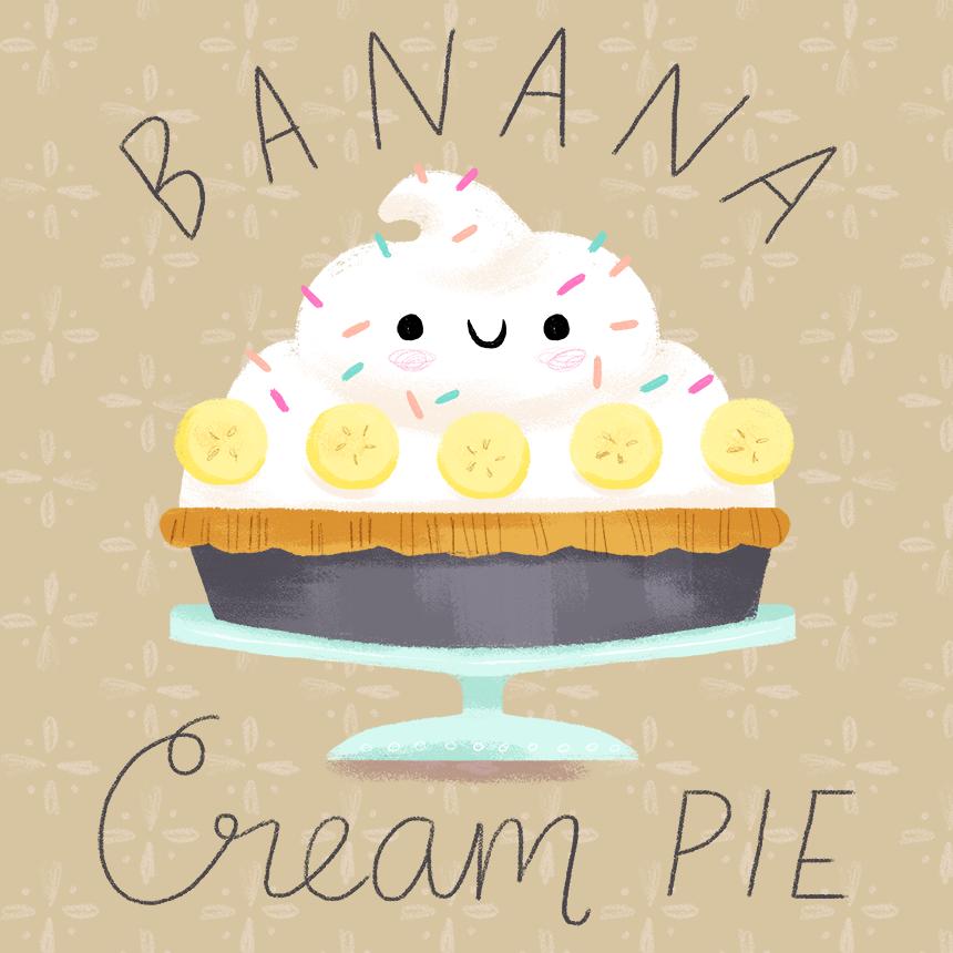 Pie clipart banana pie. Cream illustration alyssa nassner