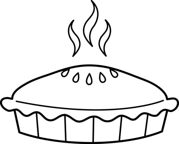 Black and white free. Pie clipart coloring page