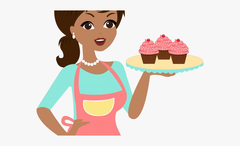 Pie clipart woman baker. Lady boneca com bolo