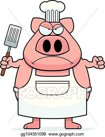 Vector art cartoon chef. Pig clipart angry