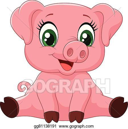 Pig clipart baby pig. Vector stock cartoon adorable