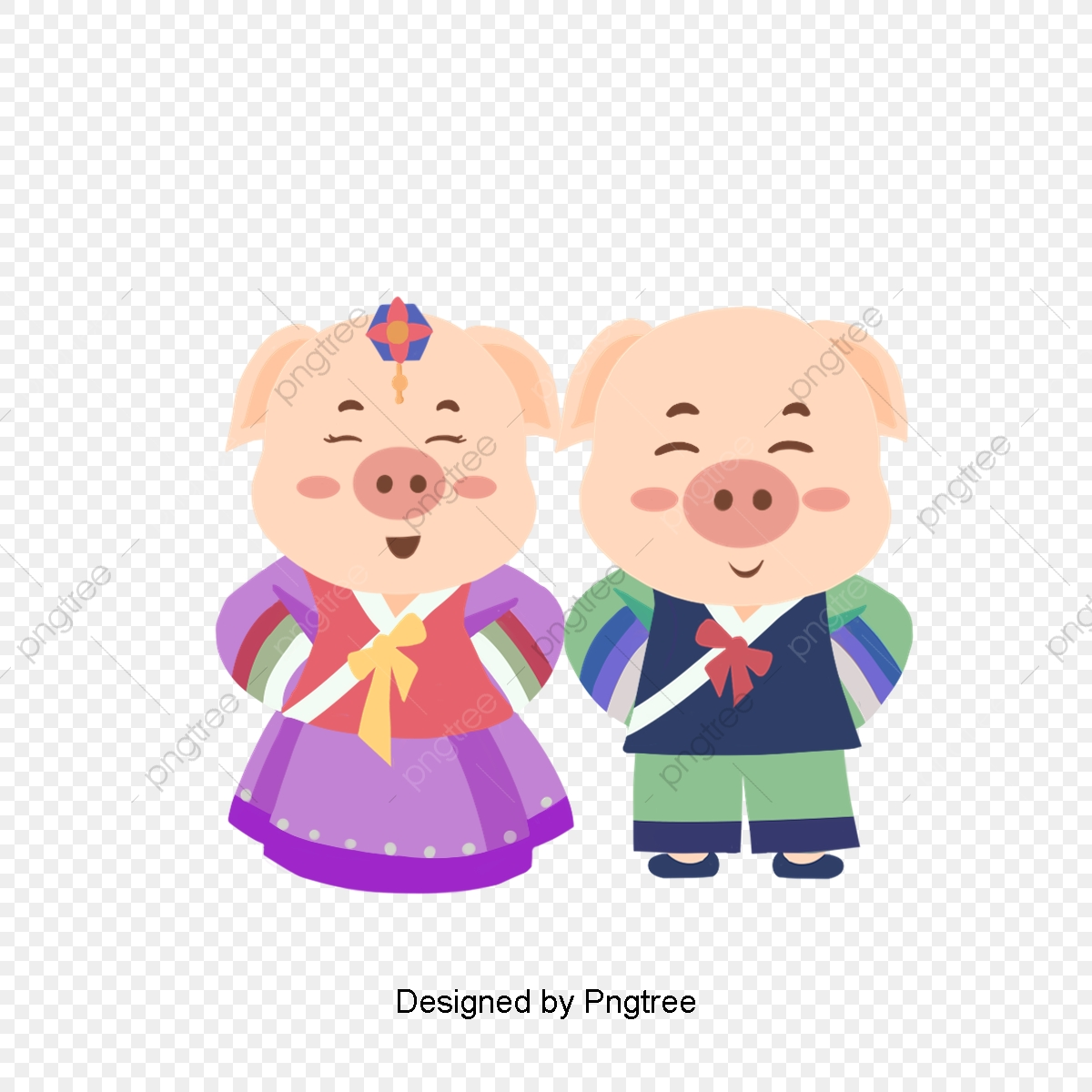 Pig clipart couple. Cartoon of pigs wear