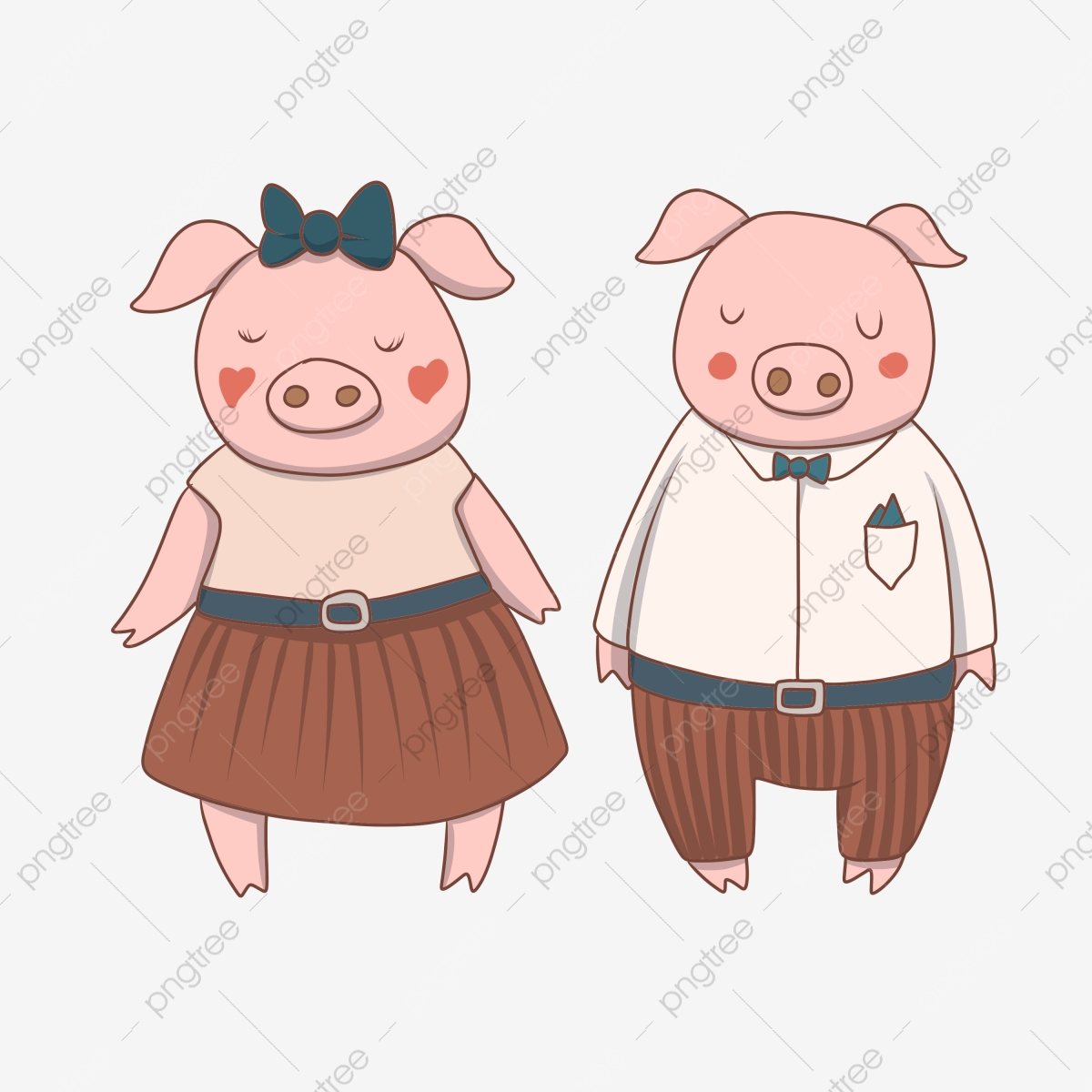 Cartoon hand drawn illustration. Pig clipart couple