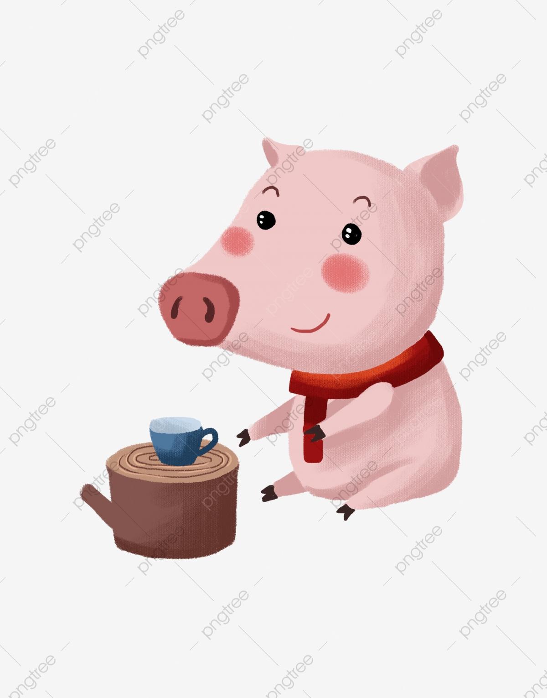 Tea little illustration cartoon. Pig clipart drinking
