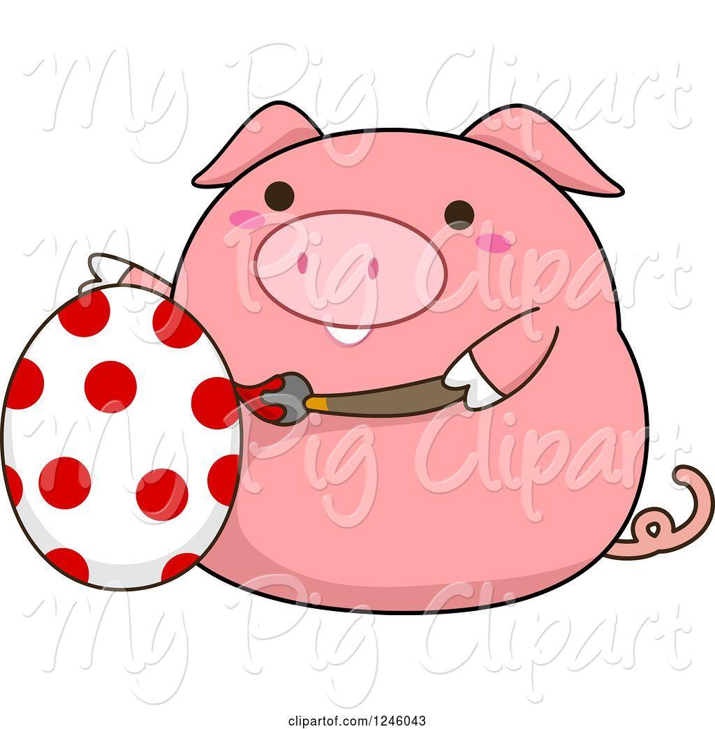 Pig clipart easter. Swine of cartoon pink