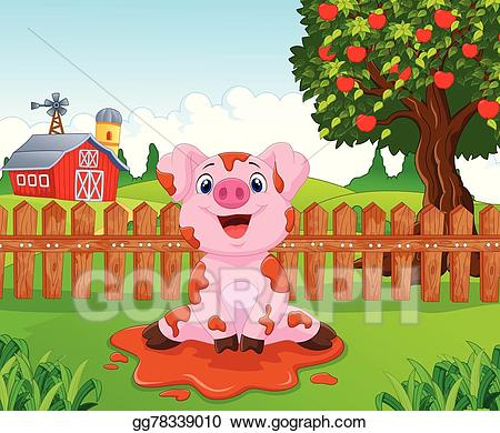 Vector art cartoon cute. Pig clipart fence