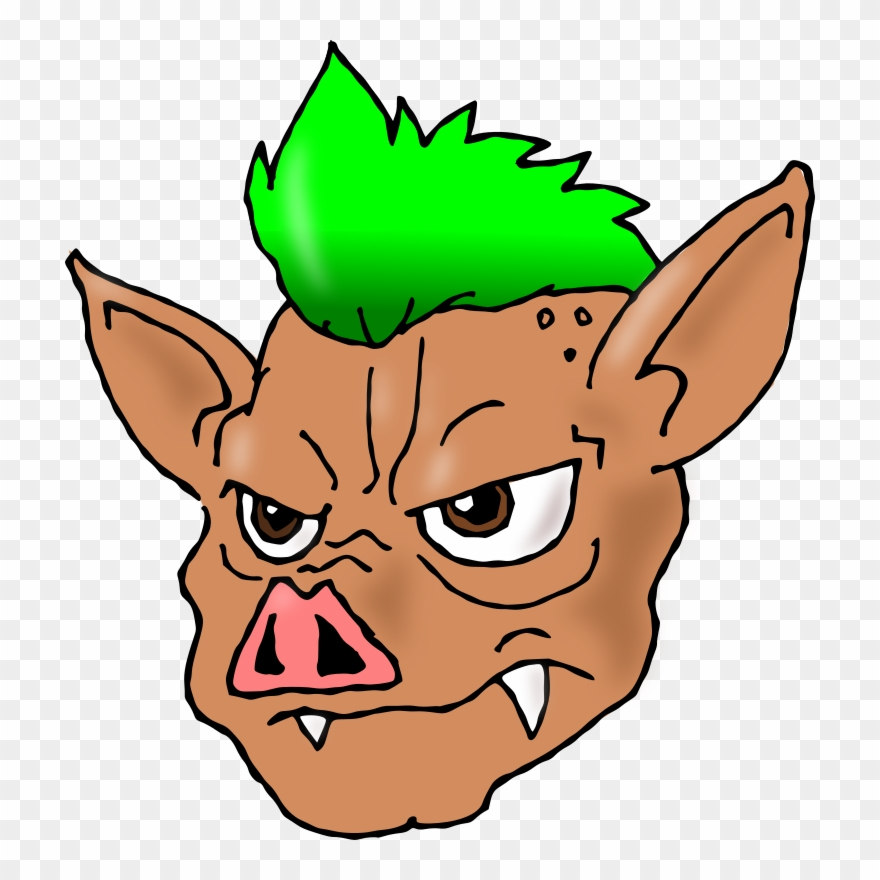 Mohawk hairstyle punk subculture. Pig clipart hair