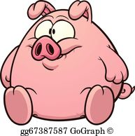 Eps vector fat stock. Pig clipart obese