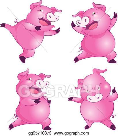 Eps illustration cute pig. Pigs clipart dance