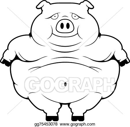 Pigs clipart overweight. Eps vector fat pig