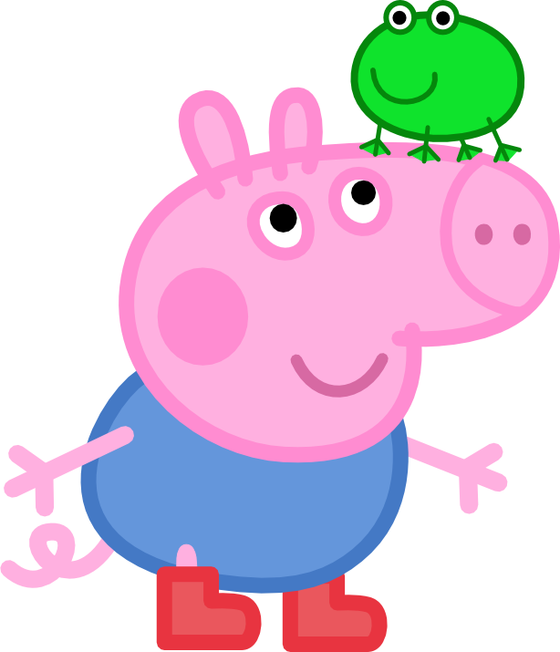Tired clipart pig. George with a frog