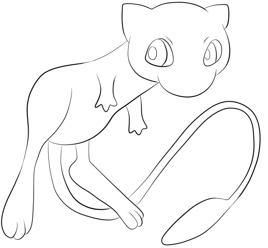 Pokemon drawing mew at. Pikachu clipart coloring sheet