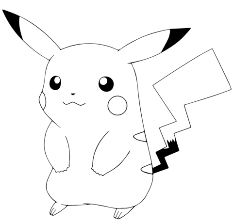 Pikachu clipart colouring page, Pikachu colouring page ...