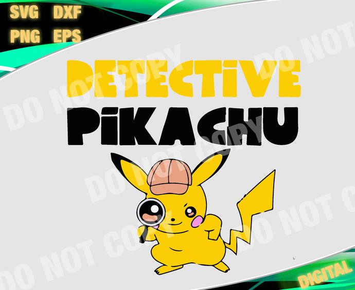 Detective svg dxf eps. Pikachu clipart file