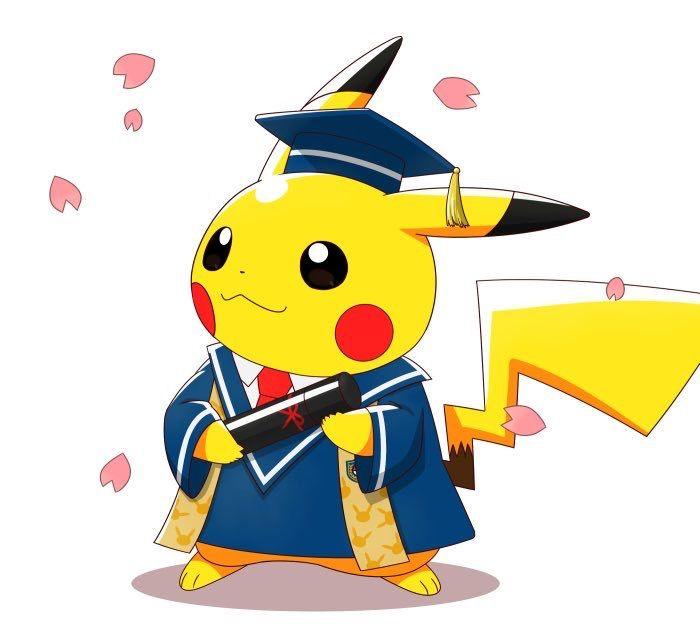 Cute evolution . Pikachu clipart graduation