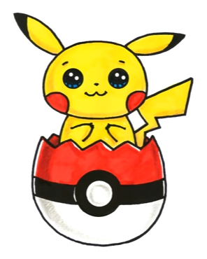 In easter egg pokemon. Pikachu clipart pokeball drawing