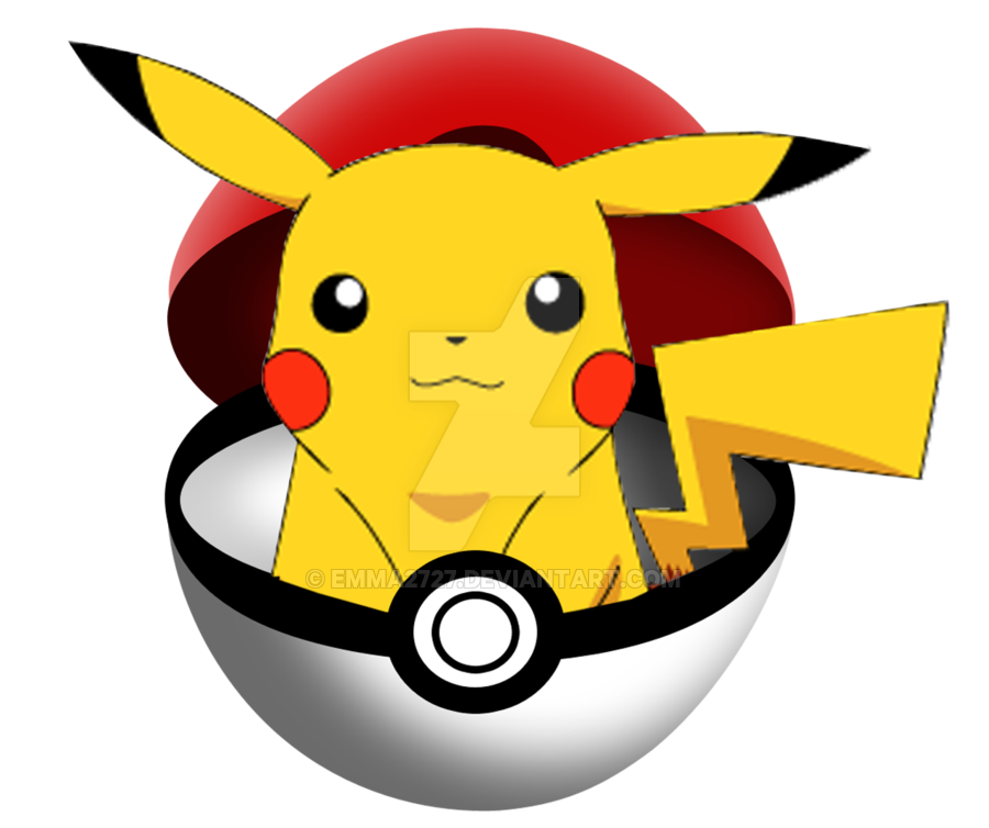 Pikachu in pokeball by Emma