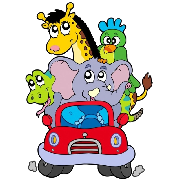 Funny Cartoon Animals In Red Car