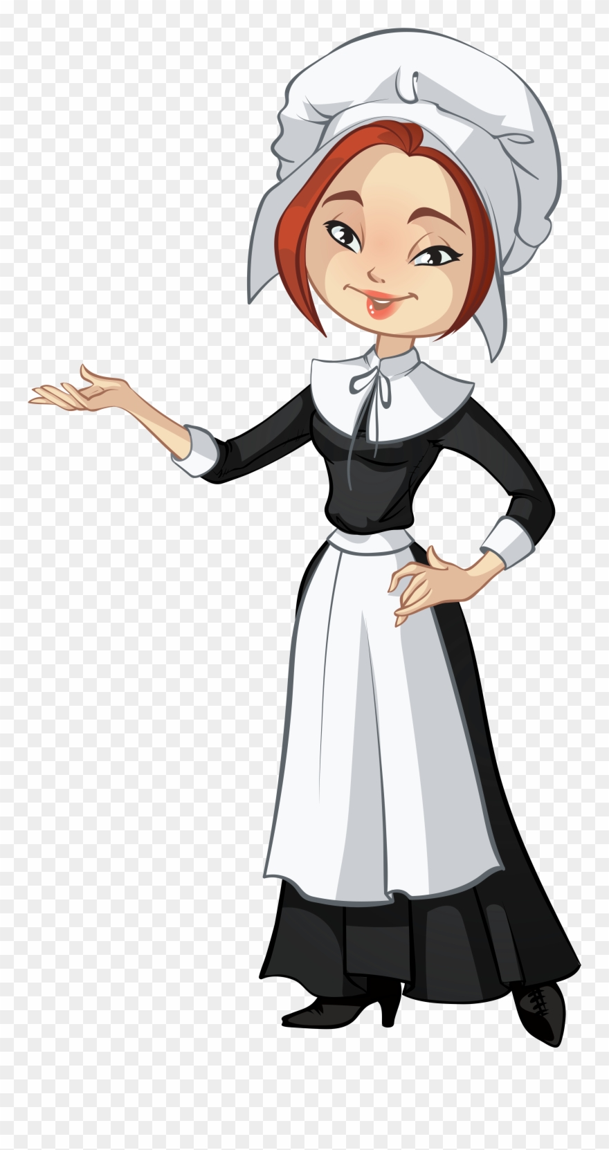 Pilgrim clipart cartoon. Female png transparent