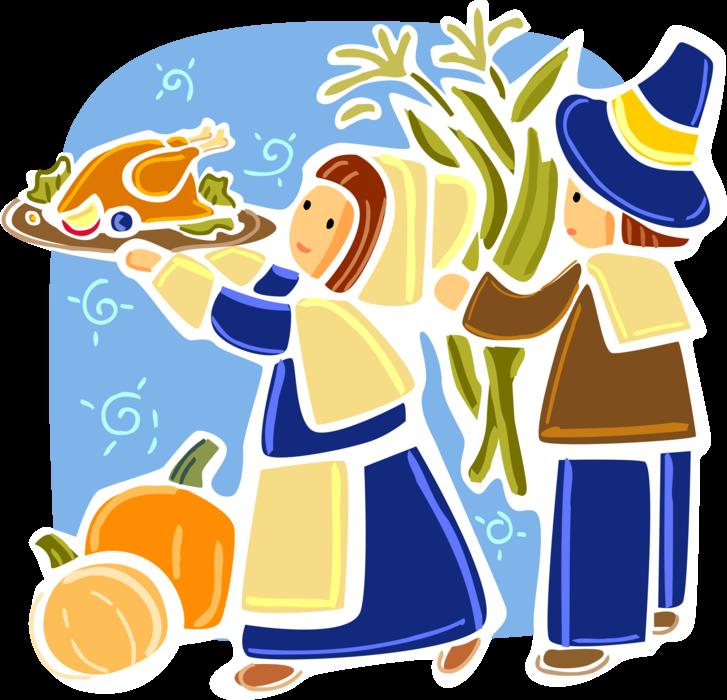 Pilgrims clipart pioneer. Mayflower celebrate thanksgiving vector