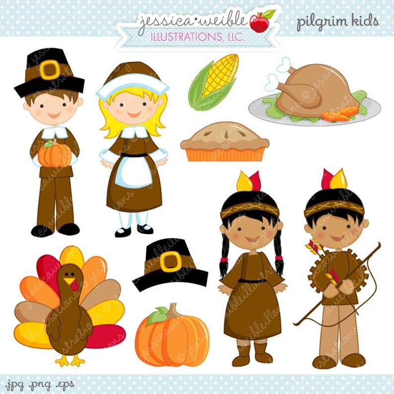 Pilgrims clipart kids. Pilgrim cute digital commercial