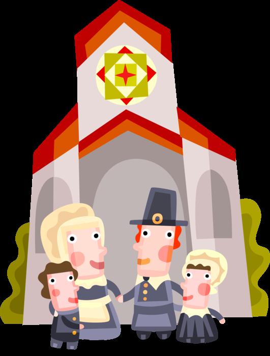 Pilgrim family attends church. Pilgrims clipart pioneer