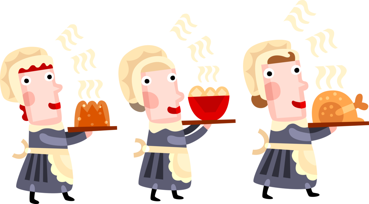 Women serve thanksgiving dinner. Pilgrims clipart pioneer