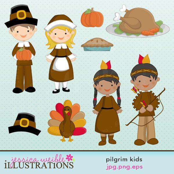 Pilgrim kids cute digital. Pilgrims clipart scrapbook
