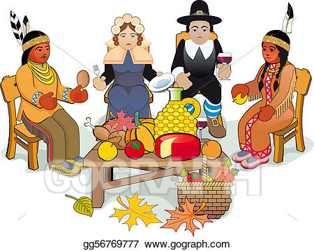 Pilgrims clipart celebration. Vector thanksgiving and indian